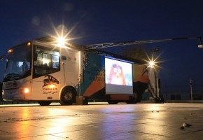 The cinema bus is the first cinema on wheels in Palestine.
